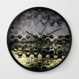Distressed Silver Gold Multi Pattern Abstract Wall Clock