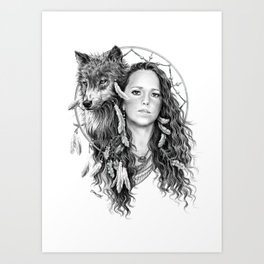 Heather / Black & white Art Print