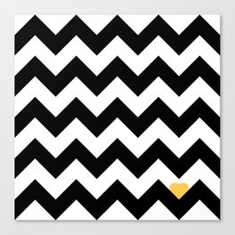 Heart & Chevron - Black/Yellow Canvas Print