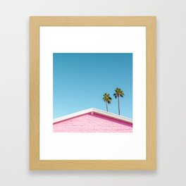 Pink House Roofline with Palm Trees (Palm Springs) Framed Art Print