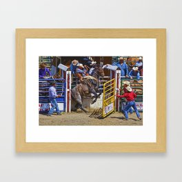 The Release - Rodeo Bronco Riding Framed Art Print