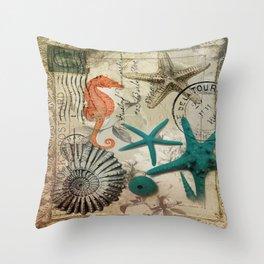 french botanical art seahorse teal green starfish Throw Pillow
