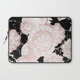 Modern rose gold floral mandala chic marble Laptop Sleeve