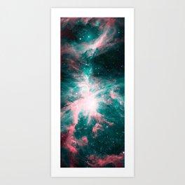 Orion Nebula Living Coral Teal Art Print