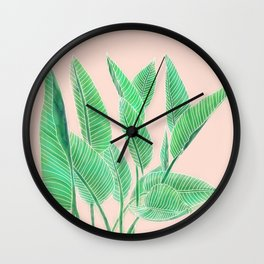 Modern pink tropical green watercolor hand painted leaf pattern Wall Clock