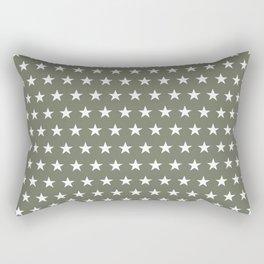 White stars on olive green pattern Rectangular Pillow