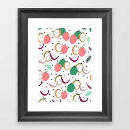 Apple print. illustration, art, print, design, pattern, fruit, food, fun, print design Framed Art Print