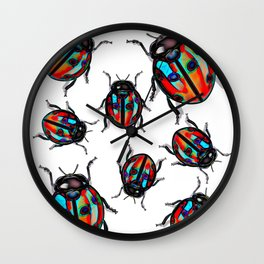 Blue Tingd Ladybugs Wall Clock