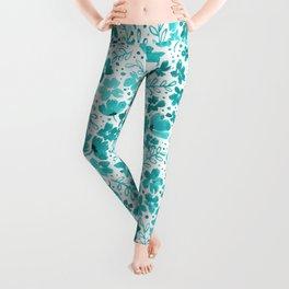 Turquoise Watercolor Floral Pattern Leggings