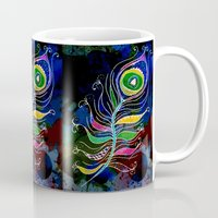 peacock feather Mugs featuring Peacock Feather by SwanniePhotoArt