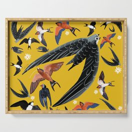 Swallows Martins and Swift pattern Yellow Serving Tray