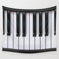 piano Wall Tapestries featuring Piano by rob art | illustration