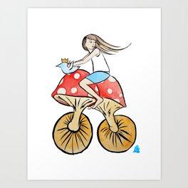 Mushroom Bike Art Print