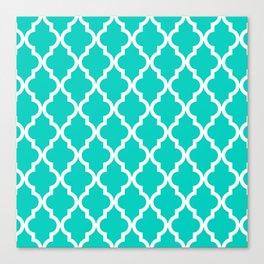 Aqua Moroccan Quatrefoil Pattern Canvas Print