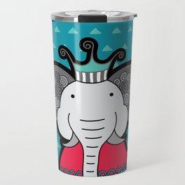 Doodle Elephant on Blue Background Travel Mug