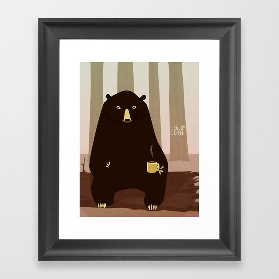 Bear Enjoys Coffee Framed Art Print