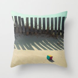 Rubik shading in the beach Throw Pillow