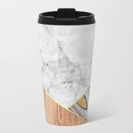 White Marble Wood & Blue Marble #782 Travel Mug