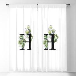 Letter 'H' Helleborus Flower Typography Blackout Curtain