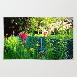 Lilies By The Fence Rug