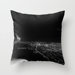 Chicago Skyline. Airplane. View From Plane. Chicago Nighttime. City Skyline. Jodilynpaintings Throw Pillow