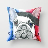 frenchie Throw Pillows featuring Frenchie by Irasema Langarica