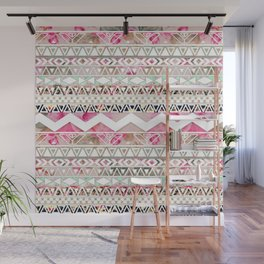 Aztec Spring Time! | Girly Pink White Floral Abstract Aztec Pattern Wall Mural