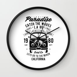 summer paradise catch the waves Wall Clock