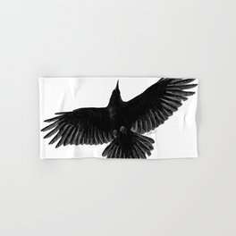 Crow In Flight illustration Hand & Bath Towel