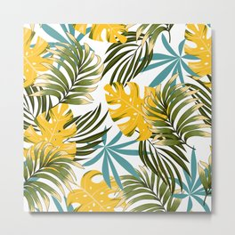 Fashionable seamless tropical pattern with bright plants and leaves on a white background. Beautiful print with hand drawn exotic plants. Tropical botanical. Metal Print