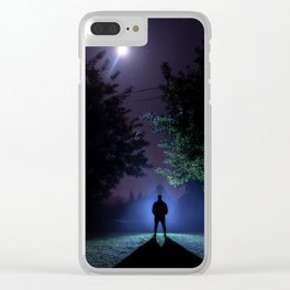 Figure of a backlit man illuminated by the moon. Clear iPhone Case