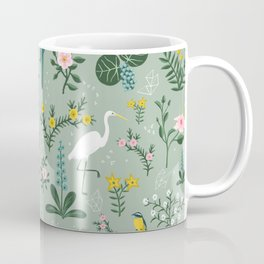 """""""Tropical Birds and Flowers"""" on Sage Green by Bex Morley Coffee Mug"""