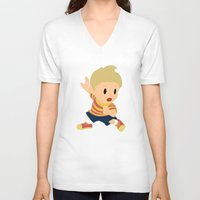 smash bros V-neck T-shirts featuring Lucas Super Smash Bros by jeice27