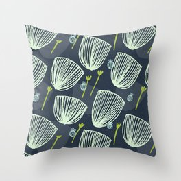 Tulip Garden M+M Navy Black by Friztin Throw Pillow