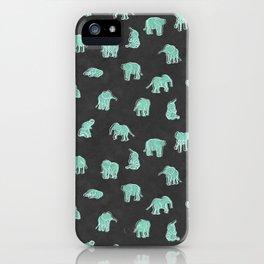 Indian Baby Elephants Black/Mint iPhone Case