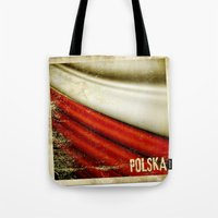 poland Tote Bags featuring STICKER OF POLAND flag by Lulla
