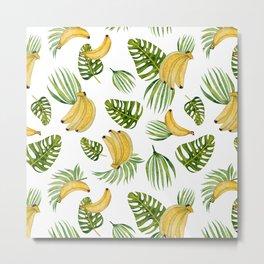 Tropical green yellow leaves fruity banana watercolor Metal Print