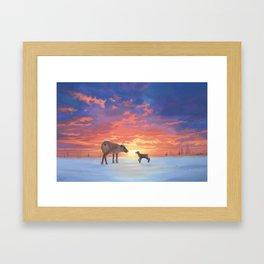 Mother Caribou & her Calf Framed Art Print