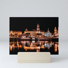 Dresden, Germany City Lights on the Saxony River Panorama Mini Art Print