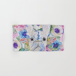 Abstract French bulldog floral watercolor paint Hand & Bath Towel