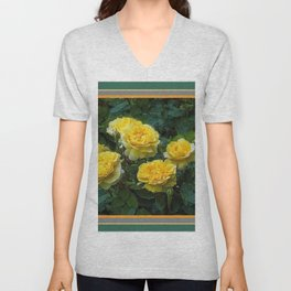 BLOOMING YELLOW SUMMER ROSE GARDEN Unisex V-Neck