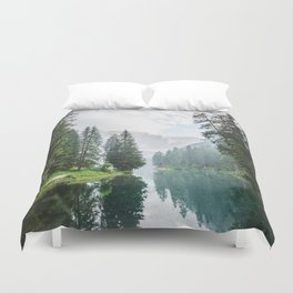Forest Reflection in Italy Duvet Cover