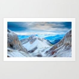 Stormy Mountains Electrified Bright Art Print