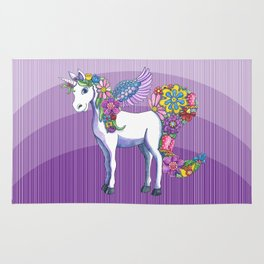 A Unicorn Sprouting Flowers Rug