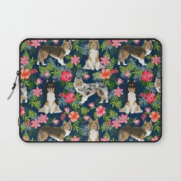 Shetland Sheepdog sheltie tropical florals floral dog breed pattern gifts for dog lover Laptop Sleeve