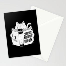 Curiosity Killed The Boredom Black Stationery Cards