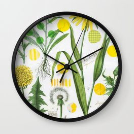 Botanical Series: Yellow Dandelion Wall Clock