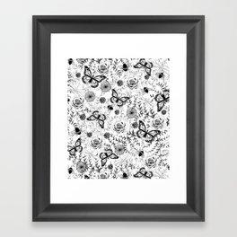 Butterflies And Bees Framed Art Print