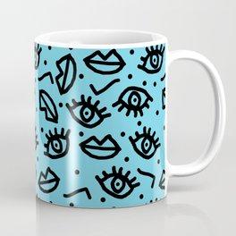 Wowzers - memphis throwback retro neon face eyes fashion print design dorm college trendy gifts Coffee Mug