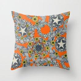cirque fleur orange stone star Throw Pillow